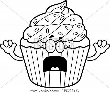 Scared Cartoon Cupcake