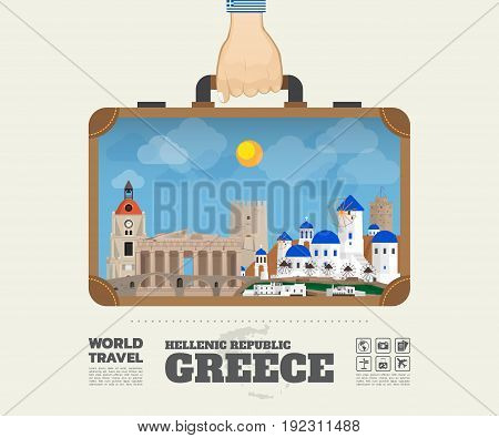 Hand Carrying Greece Landmark Global Travel And Journey Infographic Bag. Vector Design Template.vect