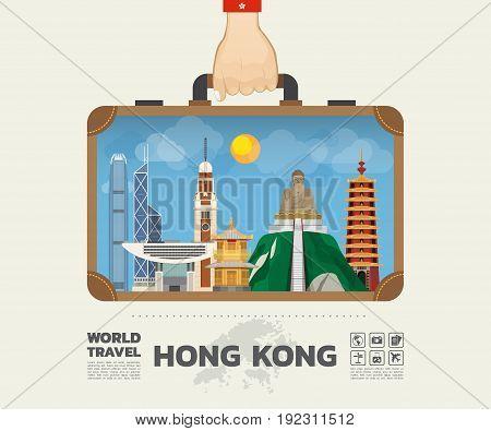 Hand Carrying Hong Kong Landmark Global Travel And Journey Infographic Bag. Vector Design Template.v
