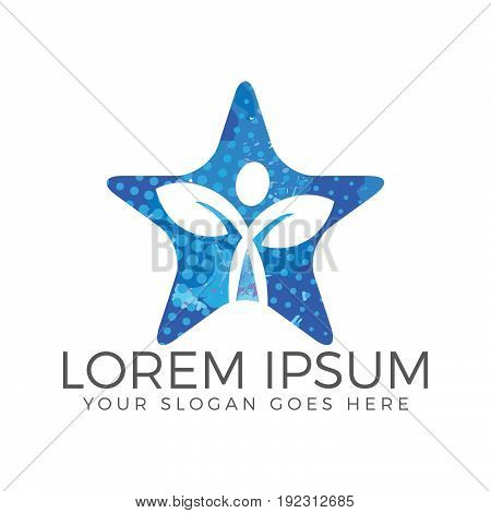 Human character with leafs in star shape. Health and Wellness logo.