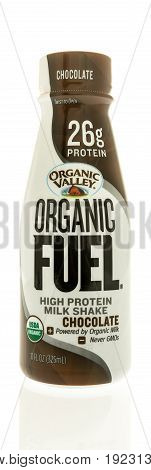 Winneconne WI -13 June 2017: A bottle of Orgainic Valley organic fuel milk protein shake on an isolated background