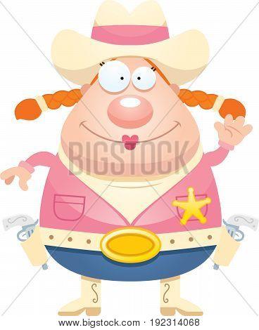 Cartoon Sheriff Waving