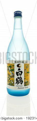 Winneconne WI -17 June 2017: A Bottle of Junmai ginjo sake on an isolated background