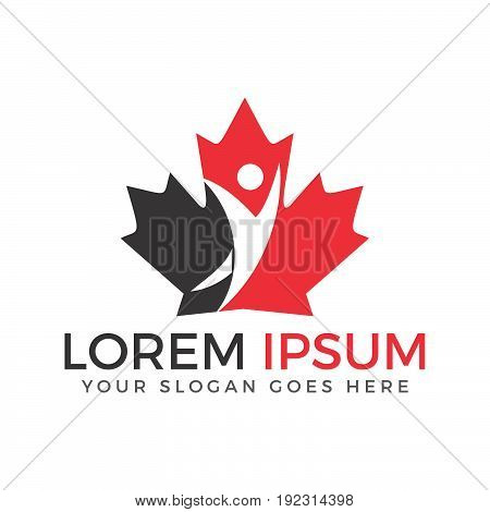 Red maple leaf  and human character logo design. Canada symbol logo.
