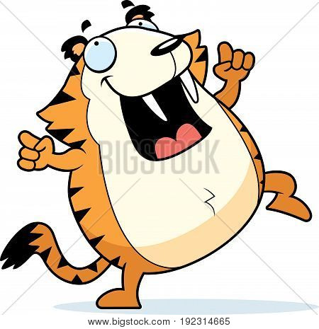 Cartoon Saber-toothed Tiger Dancing