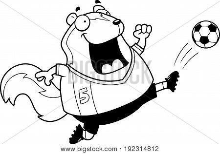 Cartoon Skunk Soccer Kick
