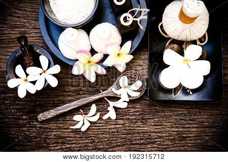 Thai Spa massage compress balls herbal ball and treatment spa with flower Thailand. Healthy Concept. select focus