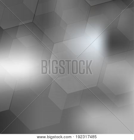 Abstract geometric shapes overlap on gray background