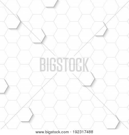 Abstract geometric shapes with shadow on white background