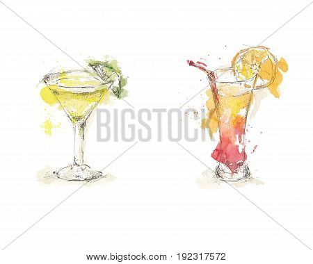 Watercolor sketch of isolated cocktails with lime and orange, set on white background.