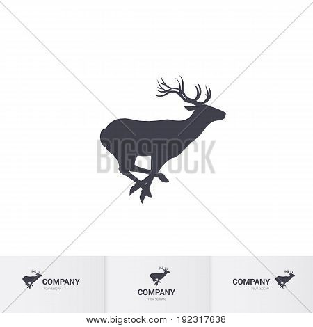 Running Horned Deer Silhouette for Logo Template