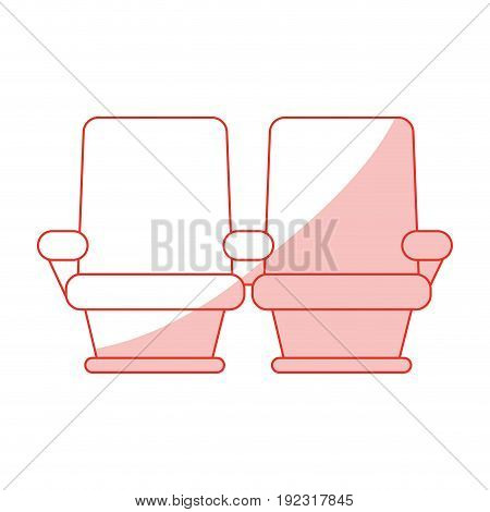 Flat line monocromatic cinema seats over white background vector illustration