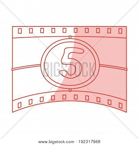 Flat line monocromatic countdown film over white background vector illustration