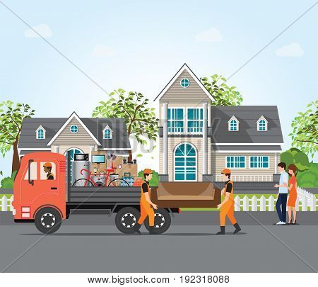Couple moving into new house employee moving furniture with service trucks moving home and real estate conceptual Vector illustration.