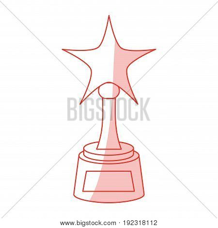 Flat line monocromatic award with star over white background vector illustration