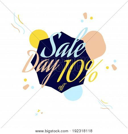 Color Lettering For Special Sale Offer Sign, Up To 10 Percent Off. Flat Vector Illustration Eps 10