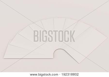 Blank White Three Fold Brochure Mockup On White Background