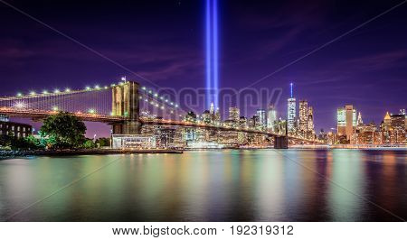 Tribute in light memorial on September 11 2016 in New York