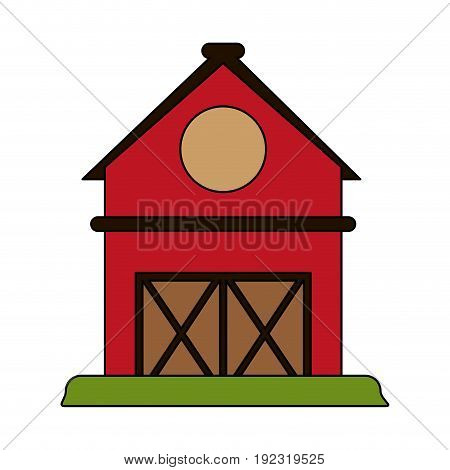 Red barn over white background vector illustration