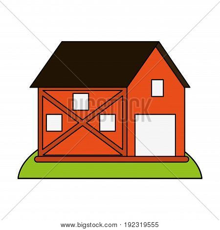 Orange barn over white background vector illustration