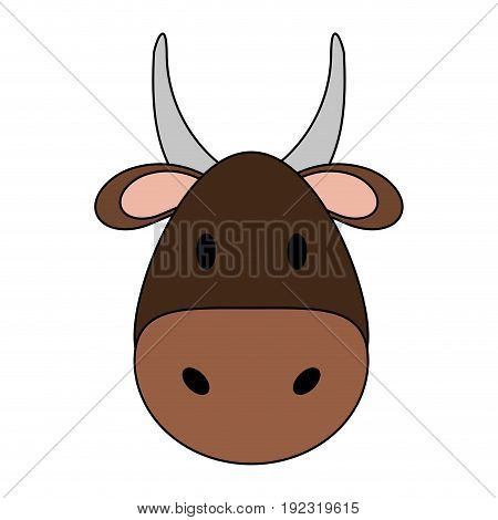 Cute bull over white background vector illustration