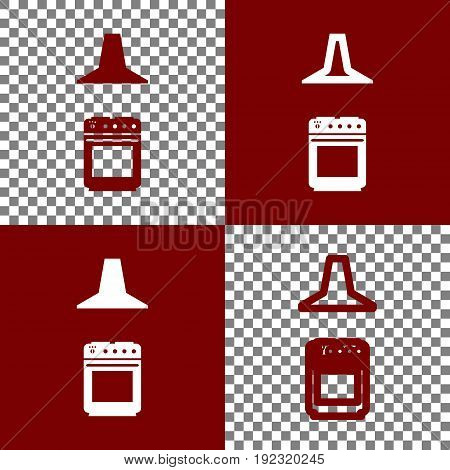 Electric or gas stove and extractor kitchen hood sign. Vector. Bordo and white icons and line icons on chess board with transparent background.