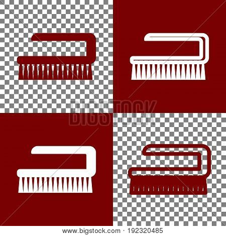 Ceaning brush hygiene tool sign. Vector. Bordo and white icons and line icons on chess board with transparent background.