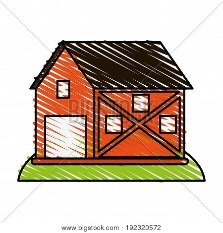 Orange barn doodle over white background vector illustration