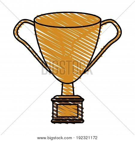 golden trophy doodle over white background vector illustration