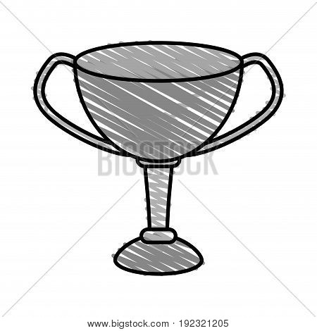 silver trophy doodle over white background vector illustration
