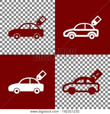 Car sign with tag. Vector. Bordo and white icons and line icons on chess board with transparent background.