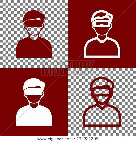 Man with sleeping mask sign. Vector. Bordo and white icons and line icons on chess board with transparent background.