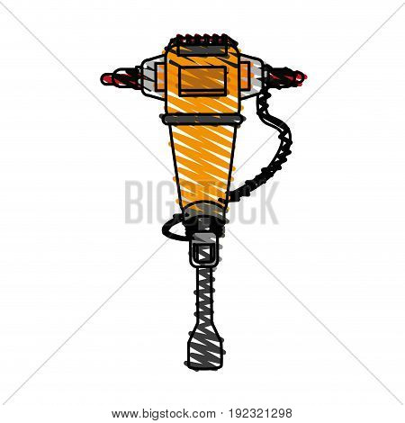 drill doodle over white background vector illustration