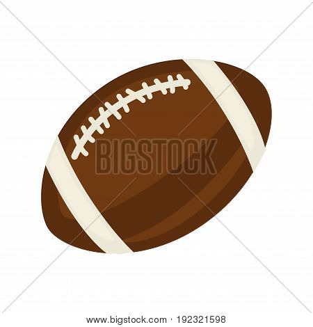 American football ball isolated on white close up vector illustration in flat design. Equipment for playing fast foreign game in oval shape, made of leather in brown color with light stripes
