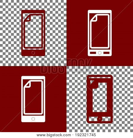 Protective sticker on the screen. Vector. Bordo and white icons and line icons on chess board with transparent background.