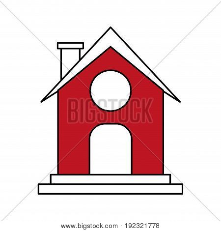 Flat line barn over white background vector illustration