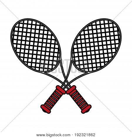 Flat line rackets over white background vector illustration