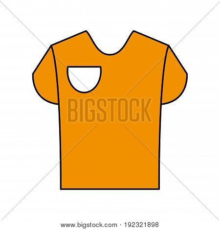 Flat line yellow shirt over white background vector illustration