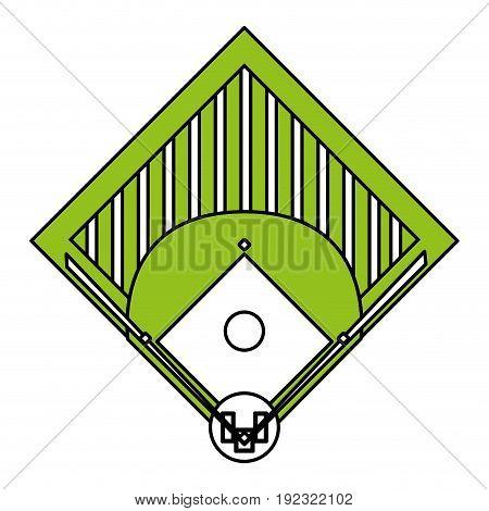 Flat line baseball field over white background vector illustration