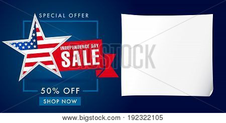 Independence day USA big sale template on dark background. United States discounts. Traditional patriotic stars, celebrating labels, web banners, fourth of July offer, % off ad, clean piece of paper.