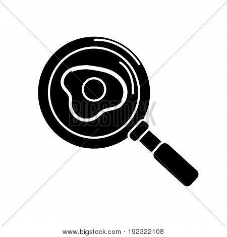 contour delicious fried egg inside skillet pan vector illustration