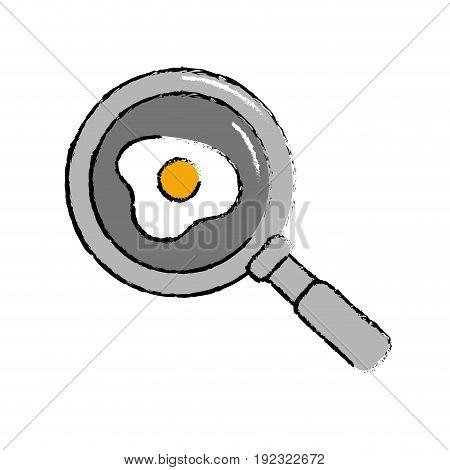 delicious fried egg inside skillet pan vector illustration