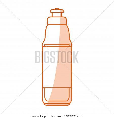 Flat line monocromatic water bottle over white background vector illustration