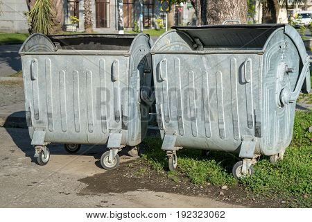 Big Metal Recycling Containers On The Street