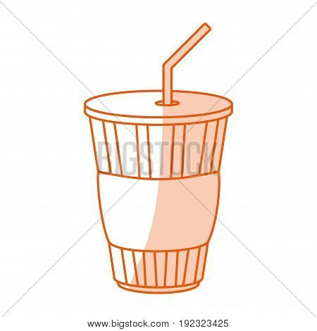 Flat line monocromatic soda cup over white background vector illustration