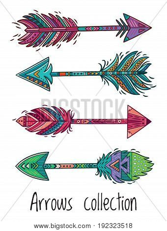 Tribal arrows collection with colorful feathers. Ethnic native vector illustration