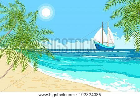 Sea view with cartoon sailboat and palms branches. Seaside background for flyer banner greeting card and invitation