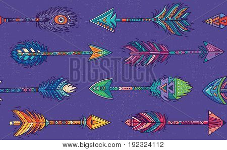 Seamless pattern with Native American Navajo arrows in bohemian style. American indian motifs. Vector illustration.