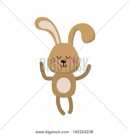 cute rabbit boy wild animal character vector illustration