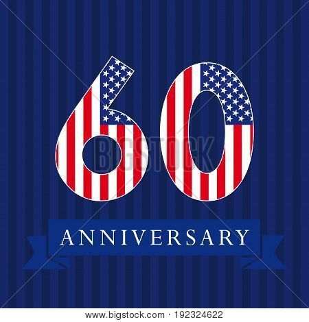 Anniversary 60 US flag logotype. Template of celebrating 60 th. Isolated numbers in traditional style on striped abstract blue background. United States patriot greetings or sticker, six, 0, letter O.